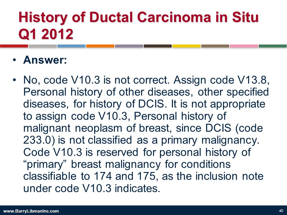 40 History of Ductal Carcinoma in Situ Q1 2012 Answer: No, code V10.3 is not correct. Assign code V13.8, Personal history of other diseases, other spe
