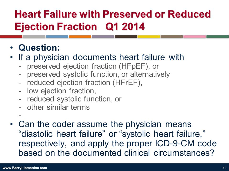 41 Heart Failure with Preserved or Reduced Ejection Fraction Q1 2014 Question: If a physician documents heart failure with -preserved ejection fractio