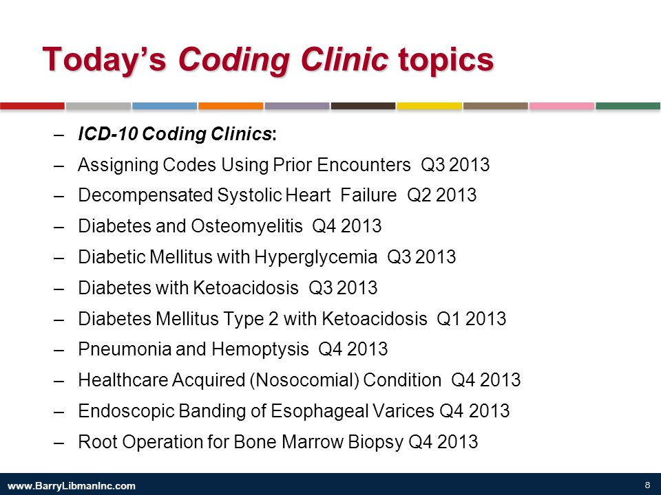 9 Today's Coding Clinic topics ICD-9 Coding Clinics: History of Ductal Carcinoma Q1 2012 Heart Failure with Preserved or Reduced Ejection Fraction Q1 2014 Immune Thrombocytopenic Purpura and Pancytopenia Q1 2014 Traumatic Urinary Catheterization Q1 2014