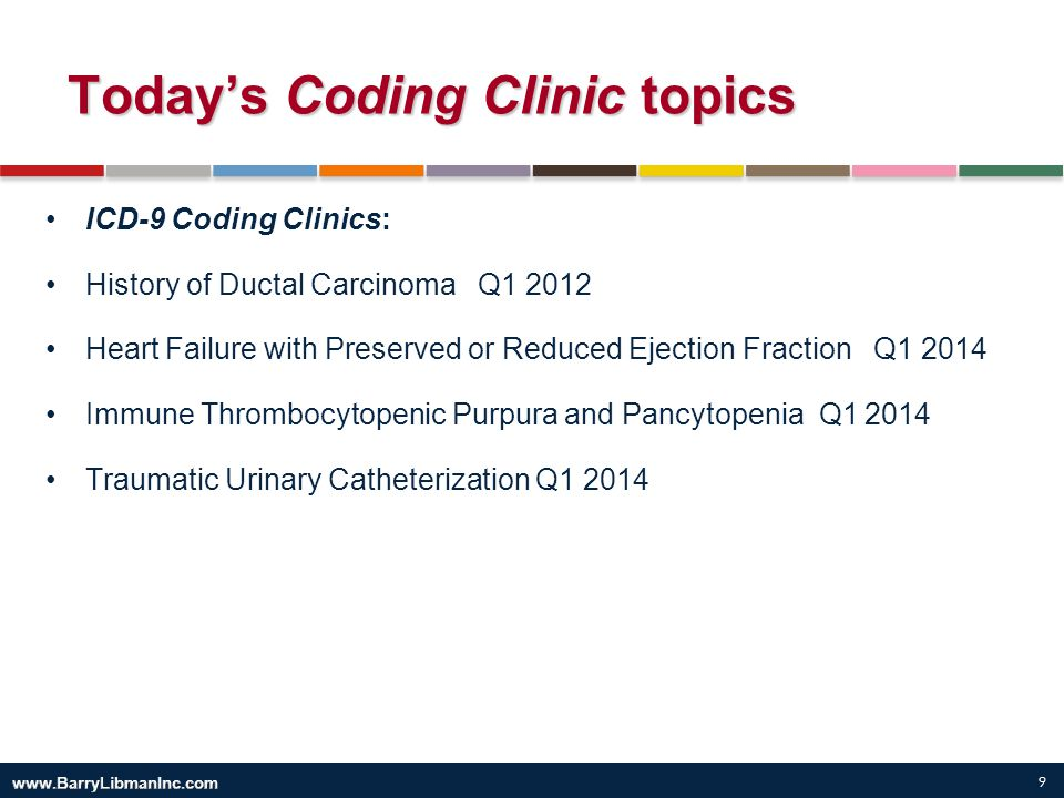 9 Today's Coding Clinic topics ICD-9 Coding Clinics: History of Ductal Carcinoma Q1 2012 Heart Failure with Preserved or Reduced Ejection Fraction Q1