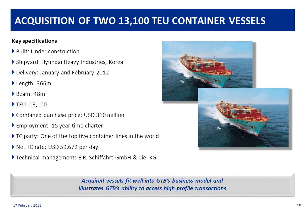 Private & confidential 17 February 2011 ACQUISITION OF TWO 13,100 TEU CONTAINER VESSELS Key specifications  Built: Under construction  Shipyard: Hyundai Heavy Industries, Korea  Delivery: January and February 2012  Length: 366m  Beam: 48m  TEU: 13,100  Combined purchase price: USD 310 million  Employment: 15 year time charter  TC party: One of the top five container lines in the world  Net TC rate: USD 59,672 per day  Technical management: E.R.
