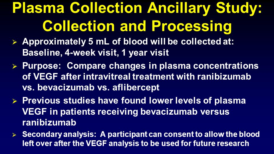  Approximately 5 mL of blood will be collected at: Baseline, 4-week visit, 1 year visit  Purpose: Compare changes in plasma concentrations of VEGF after intravitreal treatment with ranibizumab vs.