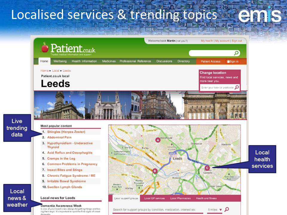 Localised services & trending topics Live trending data Local news & weather Local health services