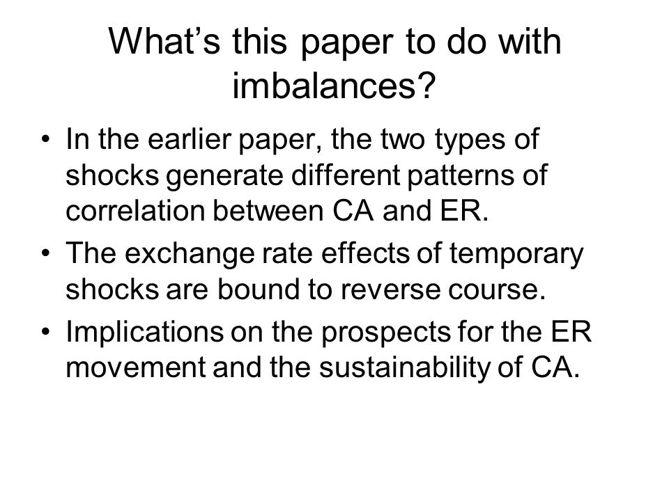 What's this paper to do with imbalances.