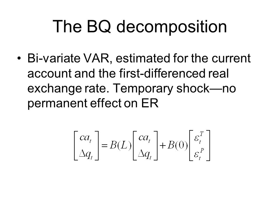 The BQ decomposition Bi-variate VAR, estimated for the current account and the first-differenced real exchange rate.