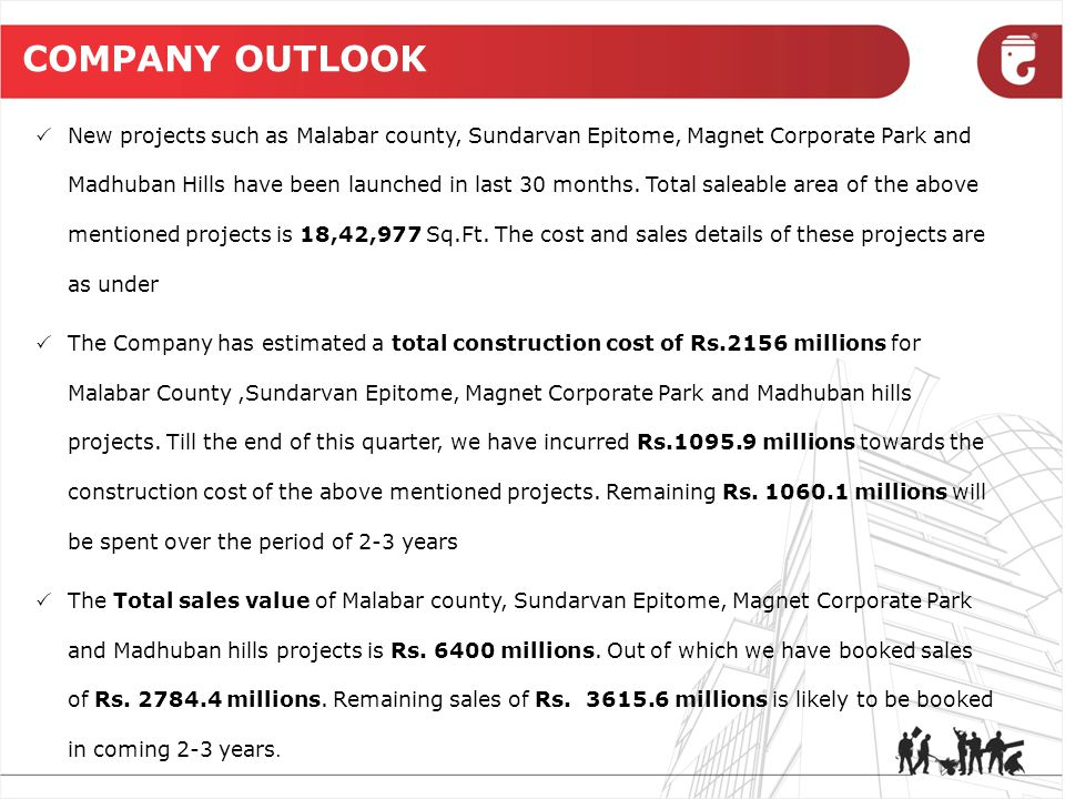 COMPANY OUTLOOK  New projects such as Malabar county, Sundarvan Epitome, Magnet Corporate Park and Madhuban Hills have been launched in last 30 months.