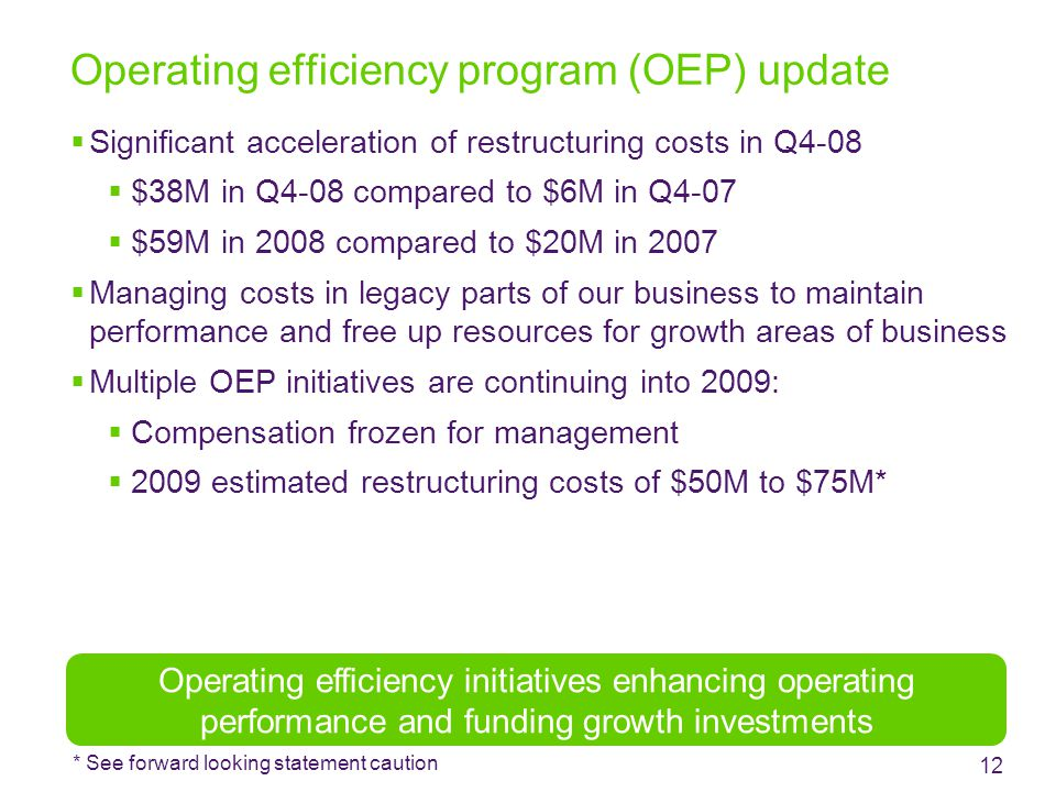 Operating efficiency program (OEP) update  Significant acceleration of restructuring costs in Q4-08  $38M in Q4-08 compared to $6M in Q4-07  $59M in 2008 compared to $20M in 2007  Managing costs in legacy parts of our business to maintain performance and free up resources for growth areas of business  Multiple OEP initiatives are continuing into 2009:  Compensation frozen for management  2009 estimated restructuring costs of $50M to $75M* 12 Operating efficiency initiatives enhancing operating performance and funding growth investments * See forward looking statement caution