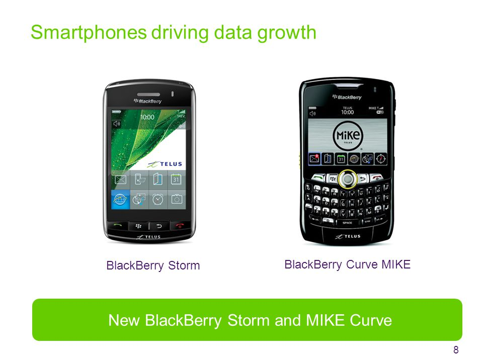Smartphones driving data growth 8 New BlackBerry Storm and MIKE Curve BlackBerry Storm BlackBerry Curve MIKE