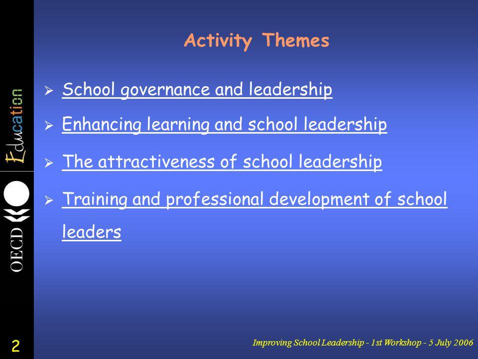2 Improving School Leadership - 1st Workshop - 5 July 2006 Activity Themes  School governance and leadership School governance and leadership  Enhan