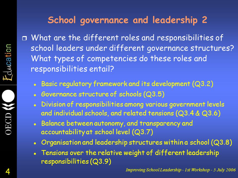 4 Improving School Leadership - 1st Workshop - 5 July 2006 School governance and leadership 2 r What are the different roles and responsibilities of school leaders under different governance structures.