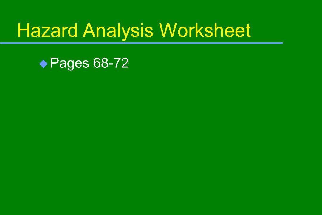 Hazard Analysis Worksheet u Pages 68-72