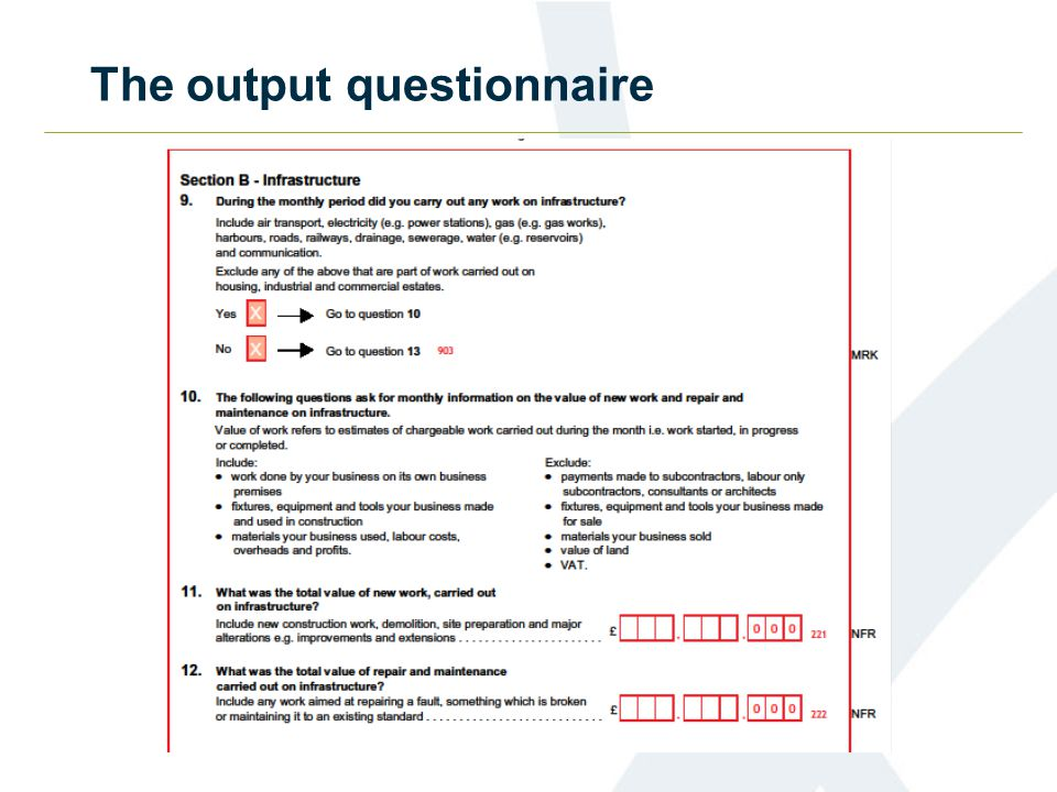 The new orders questionnaire