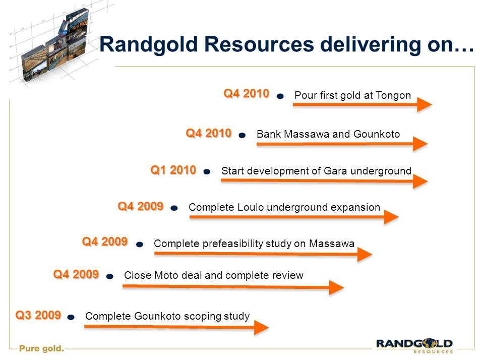 Randgold Resources delivering on… Start development of Gara underground Complete Gounkoto scoping study Complete prefeasibility study on Massawa Bank Massawa and Gounkoto Pour first gold at Tongon Close Moto deal and complete review Q3 2009 Q4 2009 Q4 2010 Q4 2009 Complete Loulo underground expansion Q1 2010 Q4 2009