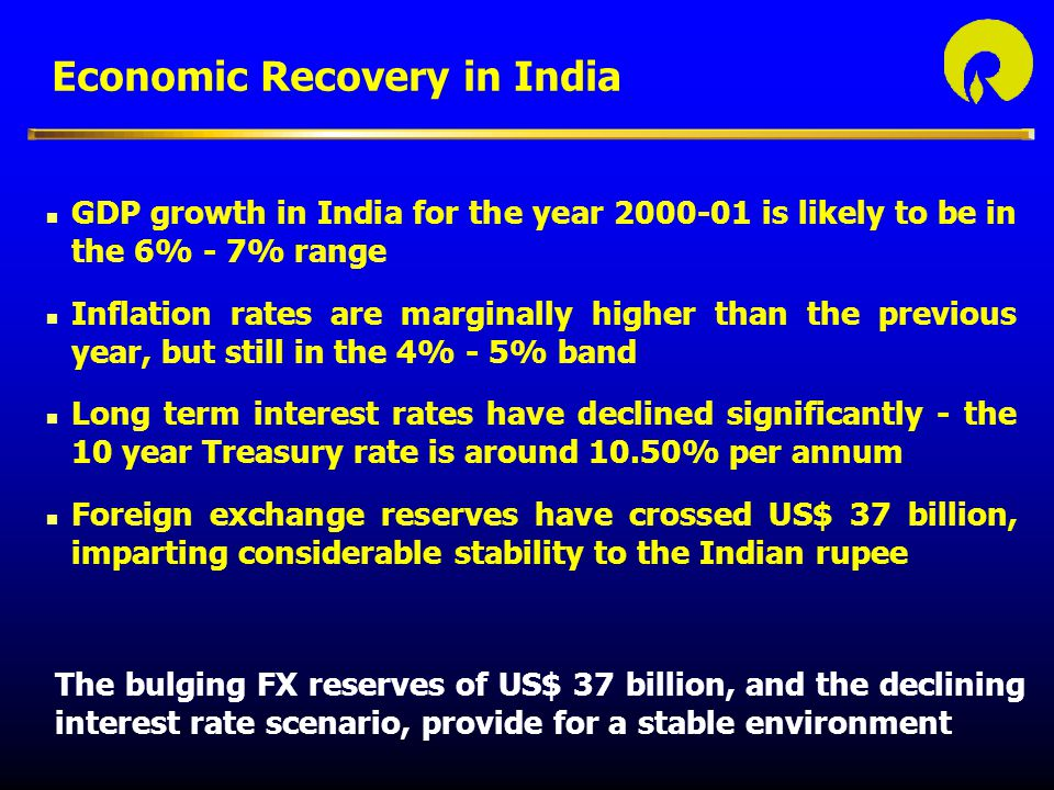 Economic Recovery in India The bulging FX reserves of US$ 37 billion, and the declining interest rate scenario, provide for a stable environment n GDP growth in India for the year 2000-01 is likely to be in the 6% - 7% range n Inflation rates are marginally higher than the previous year, but still in the 4% - 5% band n Long term interest rates have declined significantly - the 10 year Treasury rate is around 10.50% per annum n Foreign exchange reserves have crossed US$ 37 billion, imparting considerable stability to the Indian rupee