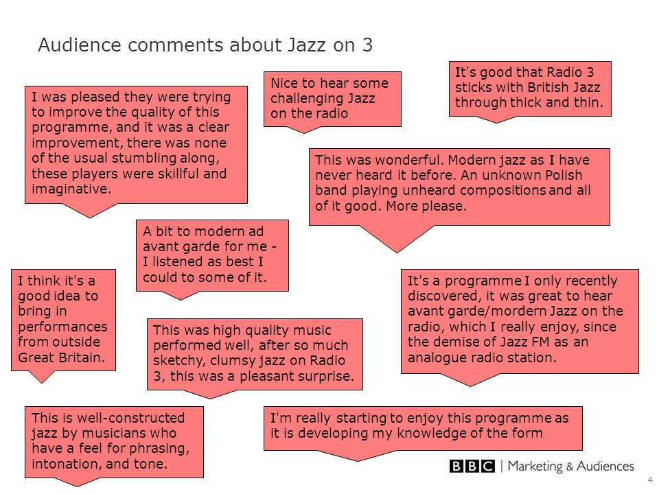 4 Audience comments about Jazz on 3 It s good that Radio 3 sticks with British Jazz through thick and thin.