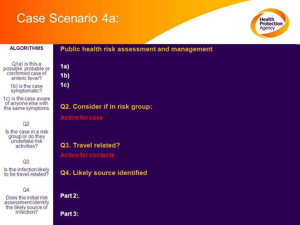 Case Scenario 4a: Public health risk assessment and management 1a) 1b) 1c) Q2. Consider if in risk group: Action for case Q3. Travel related? Action f