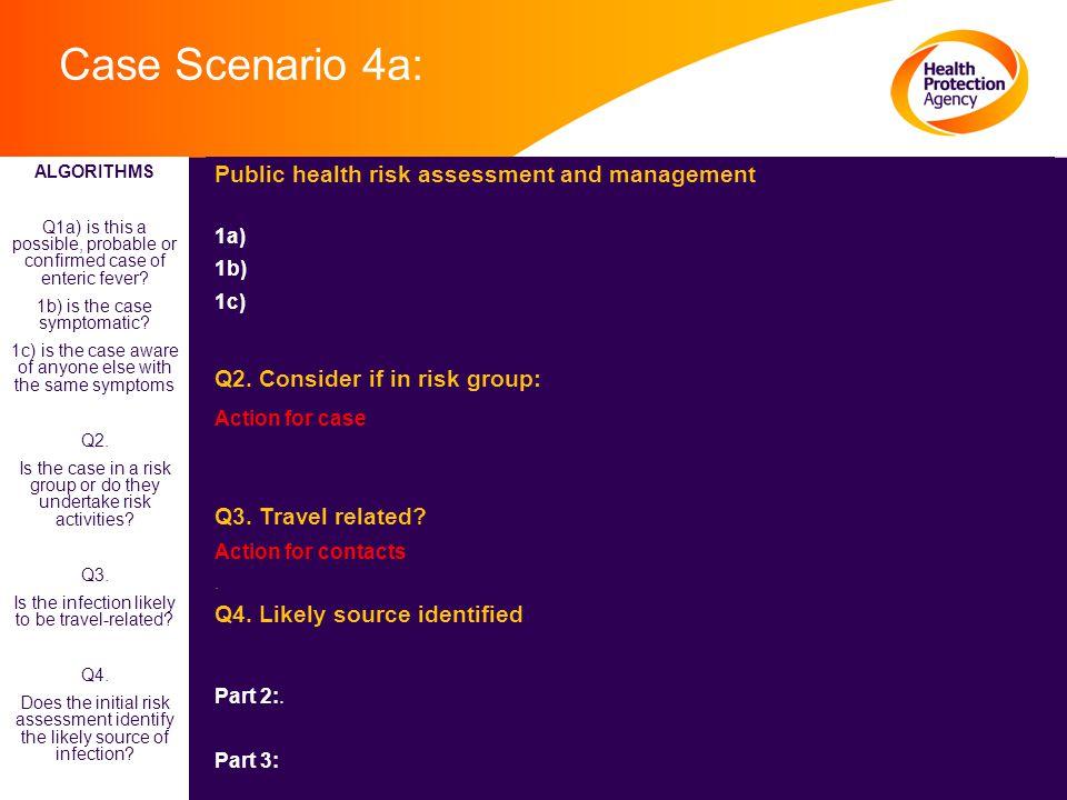 Case Scenario 4a: Public health risk assessment and management 1a) 1b) 1c) Q2.