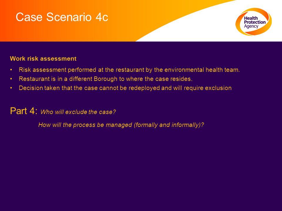Case Scenario 4c Work risk assessment Risk assessment performed at the restaurant by the environmental health team.
