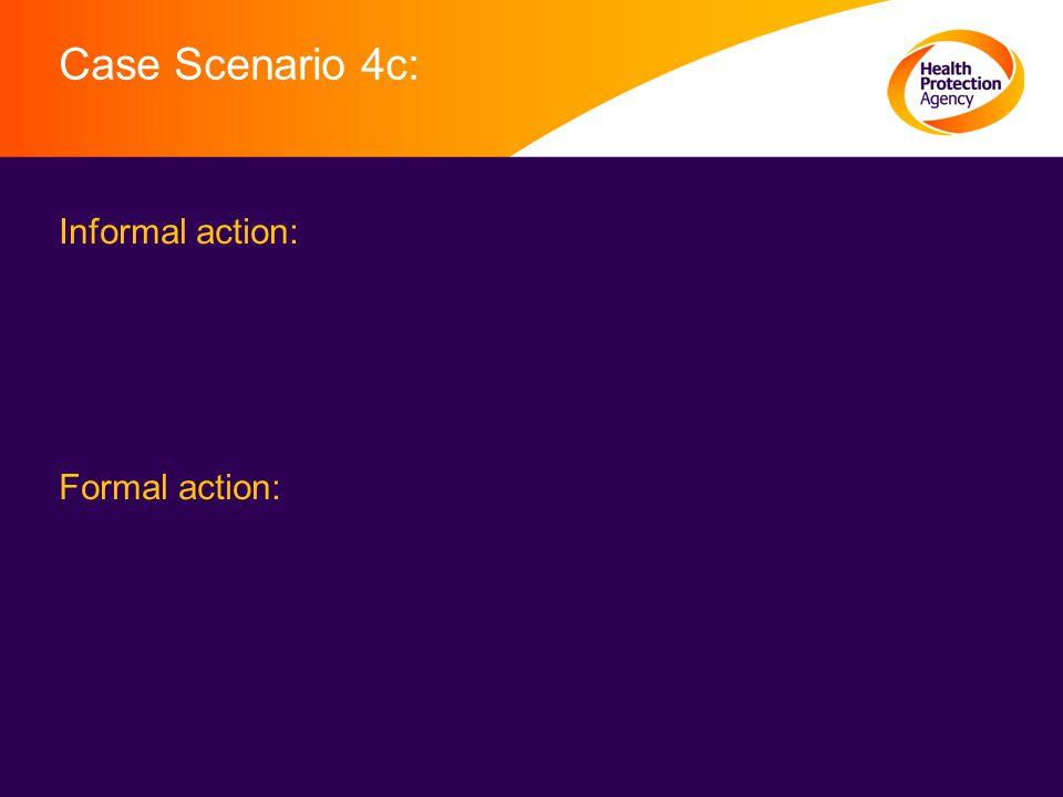 Case Scenario 4c: Informal action: Formal action: