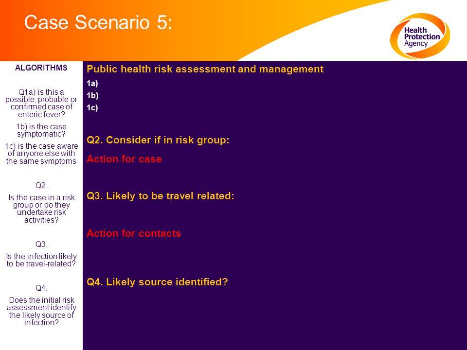 Case Scenario 5: Public health risk assessment and management 1a) 1b) 1c) Q2.