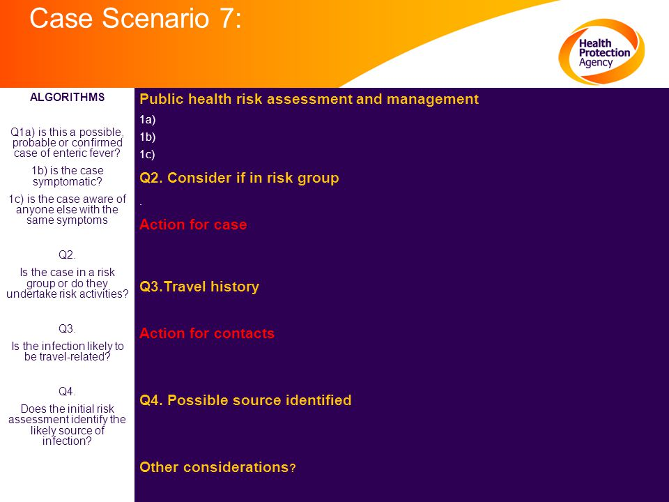 Case Scenario 7: Public health risk assessment and management 1a) 1b) 1c) Q2. Consider if in risk group. Action for case Q3.Travel history Action for