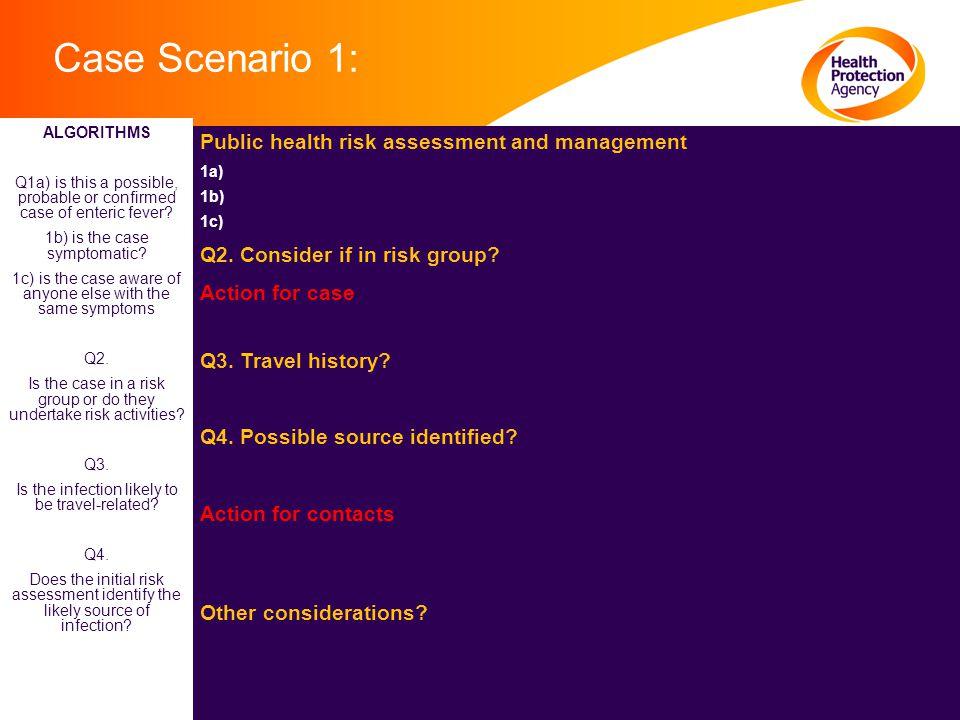 Case Scenario 1: Public health risk assessment and management 1a) 1b) 1c) Q2.