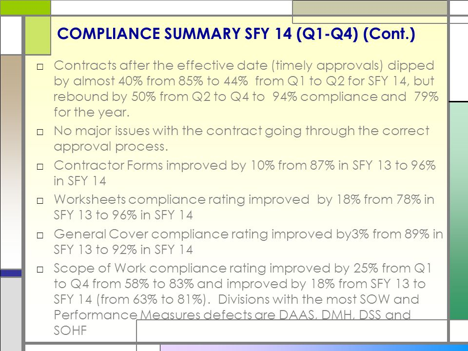 COMPLIANCE SUMMARY SFY 14 (Q1-Q4) (Cont.) □Contracts after the effective date (timely approvals) dipped by almost 40% from 85% to 44% from Q1 to Q2 for SFY 14, but rebound by 50% from Q2 to Q4 to 94% compliance and 79% for the year.