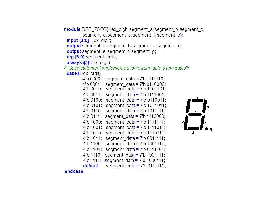 module memory(read_data, read_address, write_data, write_address, memwrite, clock, reset); output [7:0] read_data; input [2:0] read_address; input [7:0] write_data; input [2:0] write_address; input memwrite; input clock; input reset; reg [7:0] read_data, mem0, mem1; /* Block for memory read */ always @(read_address or mem0 or mem1) begin case(read_address) 3 b 000: read_data = mem0; 3 b 001: read_data = mem1; /* Unimplemented memory */ default: read_data = 8 h FF; endcase end /* Block for memory write */ always @(posedge clock or posedge reset) begin if (reset) begin /* Initial values for memory (optional) */ mem0 = 8 h AA ; mem1 = 8 h 55; end else if (memwrite) /* write new value to memory */ case (write_address) 3 b 000 : mem0 = write_data; 3 b 001 : mem1 = write_data; endcase end endmodule