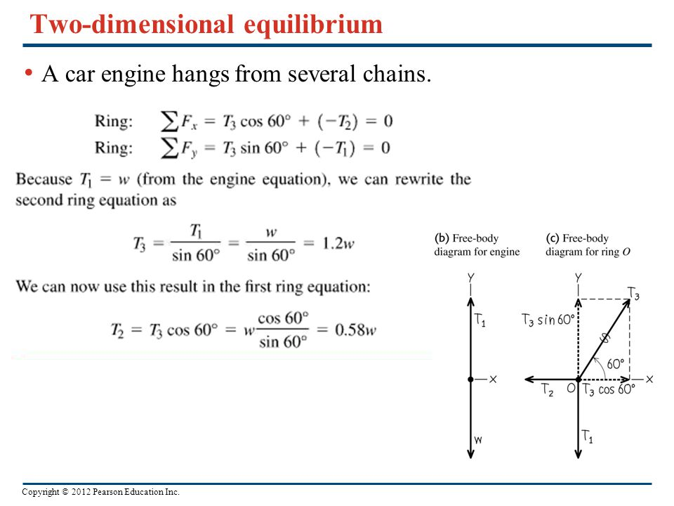 Copyright © 2012 Pearson Education Inc. Two-dimensional equilibrium A car engine hangs from several chains.