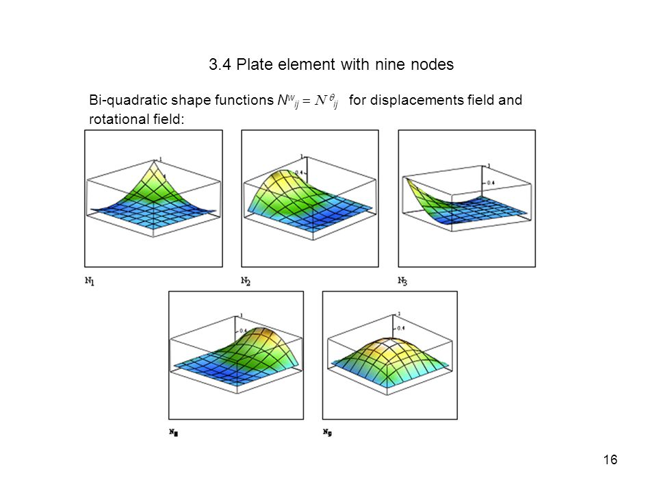 3.4 Plate element with nine nodes Bi-quadratic shape functions N w ij   ij  for displacements field and rotational field: 16