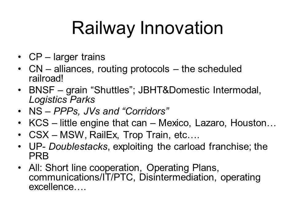 "Railway Innovation CP – larger trains CN – alliances, routing protocols – the scheduled railroad! BNSF – grain ""Shuttles""; JBHT&Domestic Intermodal, L"