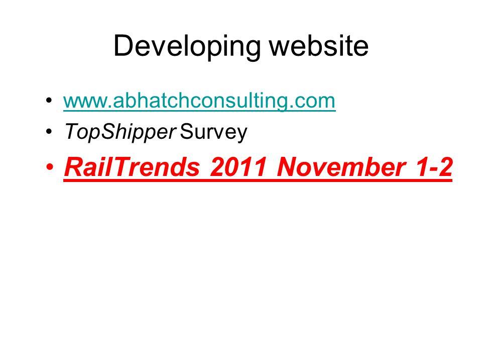 Developing website www.abhatchconsulting.com TopShipper Survey RailTrends 2011 November 1-2