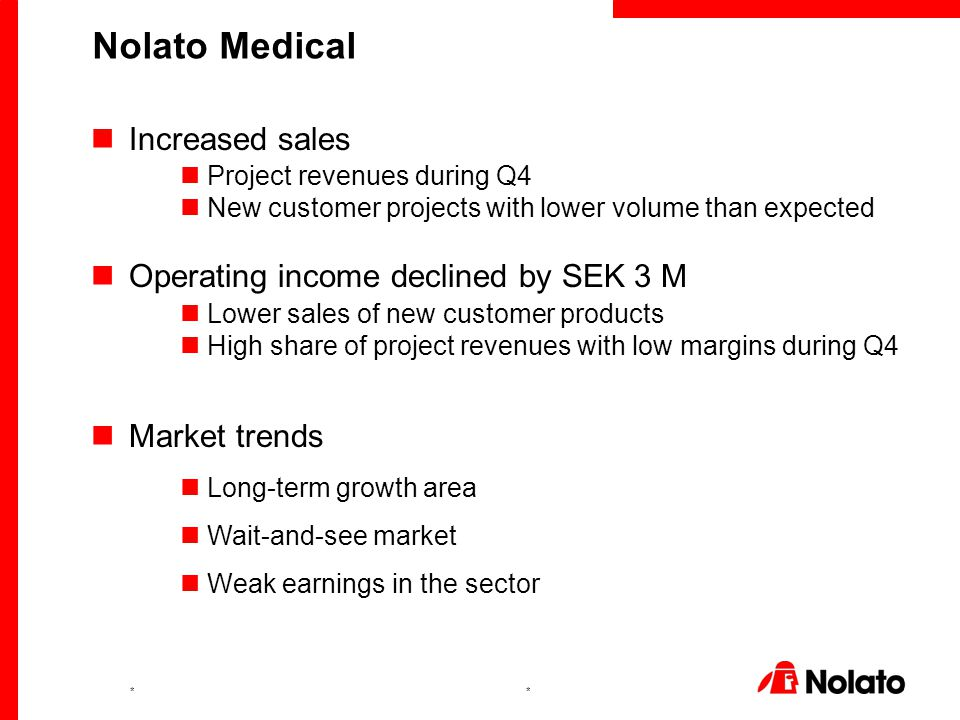 ** Increased sales Project revenues during Q4 New customer projects with lower volume than expected Operating income declined by SEK 3 M Lower sales of new customer products High share of project revenues with low margins during Q4 Market trends Long-term growth area Wait-and-see market Weak earnings in the sector Nolato Medical