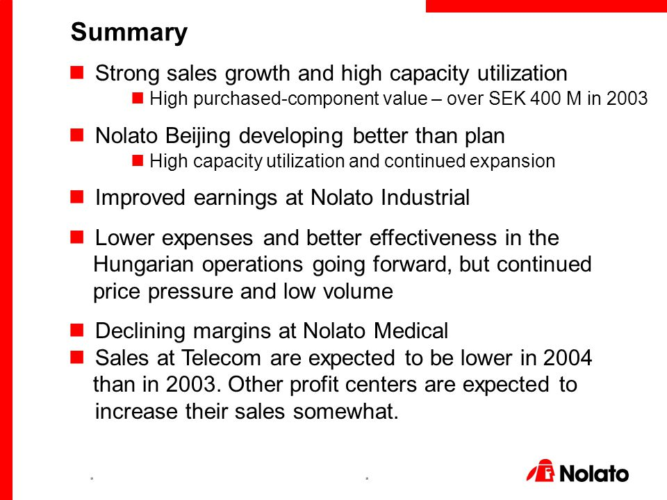 ** Strong sales growth and high capacity utilization High purchased-component value – over SEK 400 M in 2003 Nolato Beijing developing better than pla