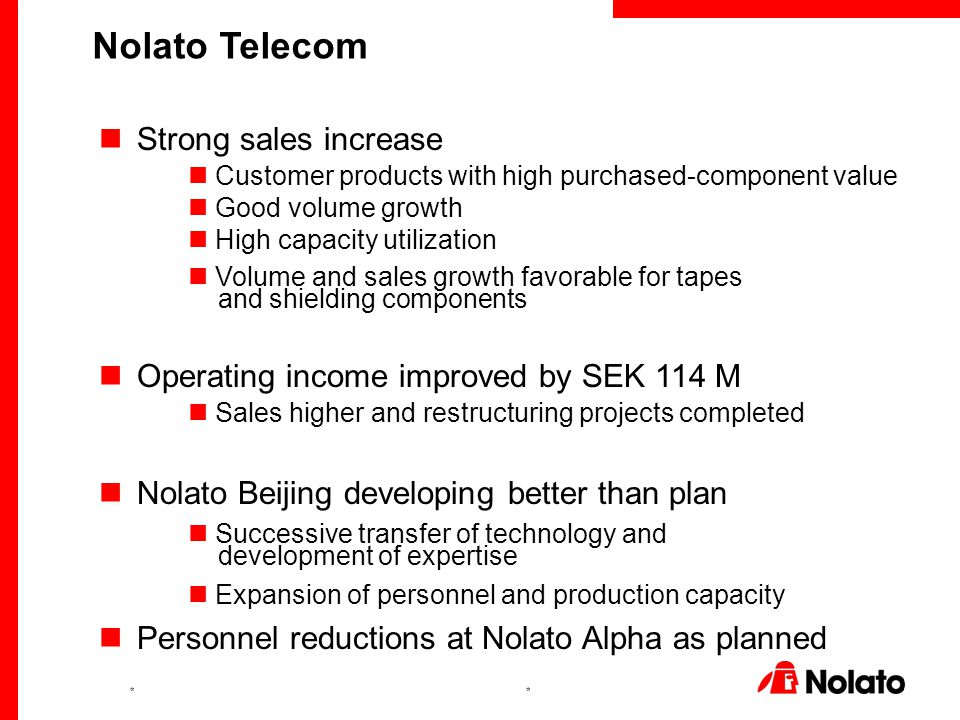 ** Strong sales increase Customer products with high purchased-component value Good volume growth High capacity utilization Volume and sales growth favorable for tapes and shielding components Operating income improved by SEK 114 M Sales higher and restructuring projects completed Nolato Beijing developing better than plan Successive transfer of technology and development of expertise Expansion of personnel and production capacity Personnel reductions at Nolato Alpha as planned Nolato Telecom