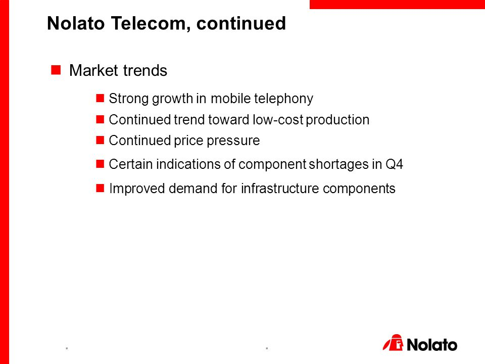 ** Market trends Strong growth in mobile telephony Continued trend toward low-cost production Continued price pressure Certain indications of componen