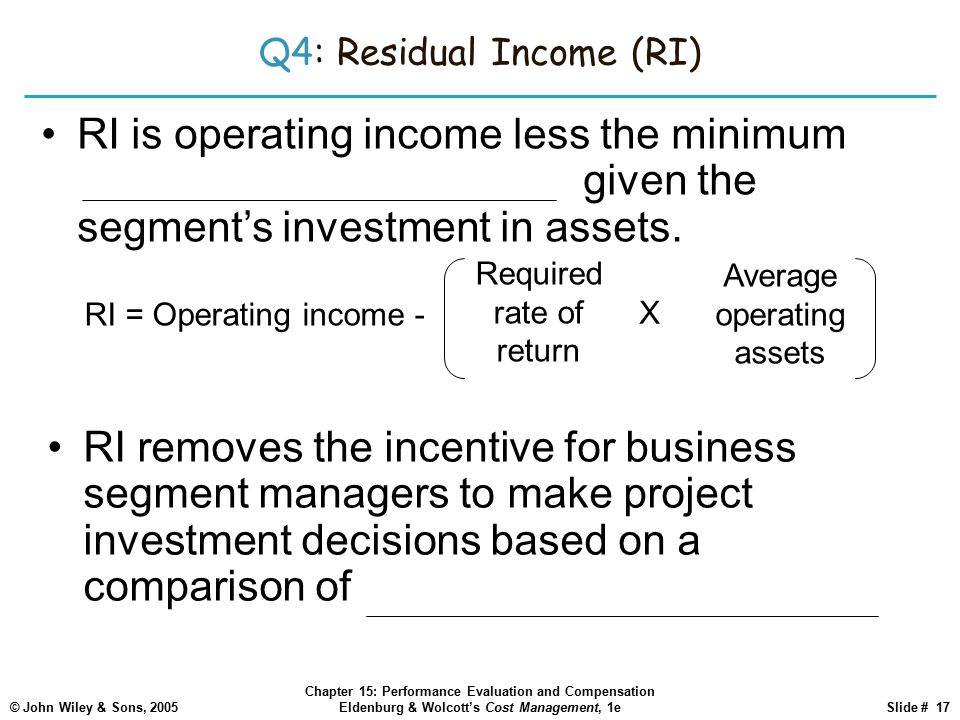 © John Wiley & Sons, 2005 Chapter 15: Performance Evaluation and Compensation Eldenburg & Wolcott's Cost Management, 1eSlide # 17 Q4: Residual Income (RI) RI is operating income less the minimum required operating income given the segment's investment in assets.