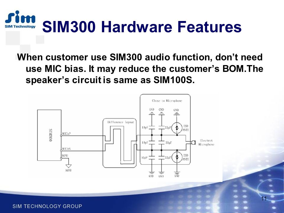 11 When customer use SIM300 audio function, don't need use MIC bias. It may reduce the customer's BOM.The speaker's circuit is same as SIM100S. SIM300