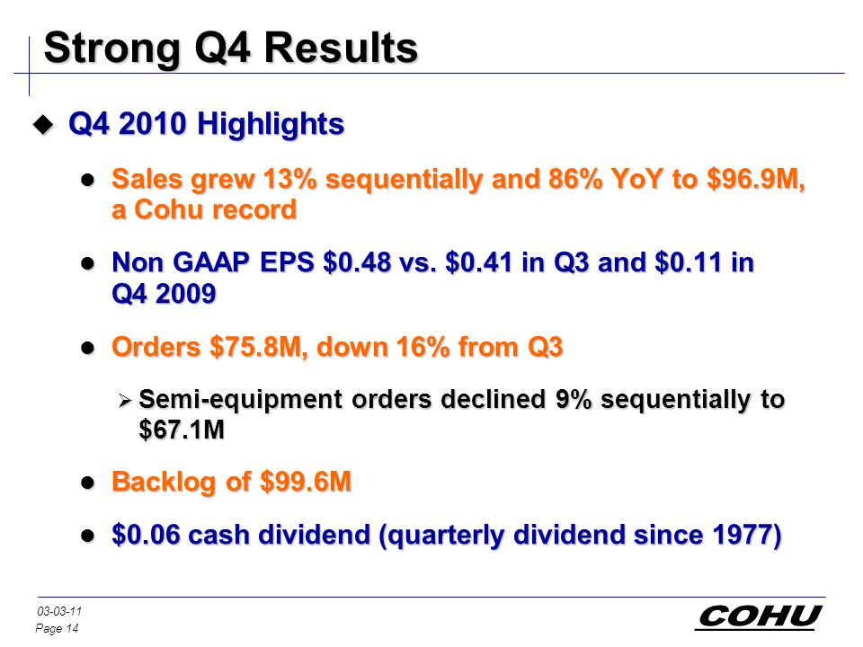 Page 14 03-03-11 Strong Q4 Results  Q4 2010 Highlights Sales grew 13% sequentially and 86% YoY to $96.9M, a Cohu record Sales grew 13% sequentially and 86% YoY to $96.9M, a Cohu record Non GAAP EPS $0.48 vs.