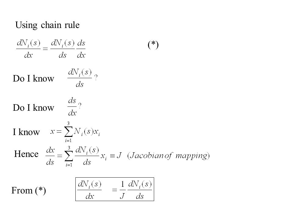 Do I know I know Hence From (*) Using chain rule (*)