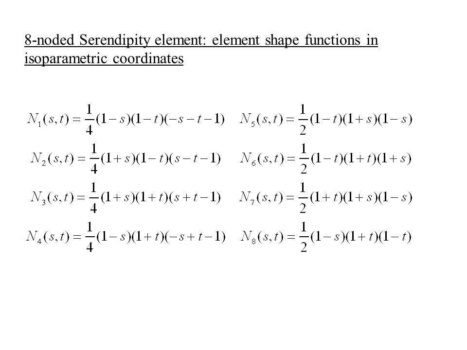 8-noded Serendipity element: element shape functions in isoparametric coordinates