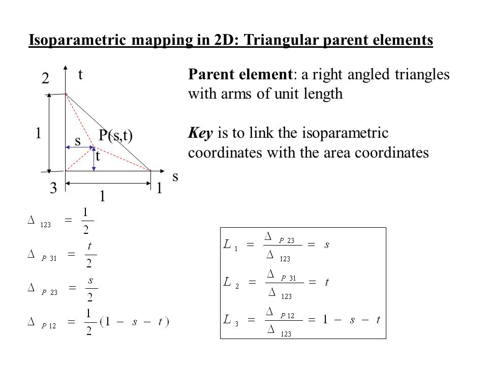 Isoparametric mapping in 2D: Triangular parent elements s t 2 3 1 1 1 P(s,t) s t Parent element: a right angled triangles with arms of unit length Key
