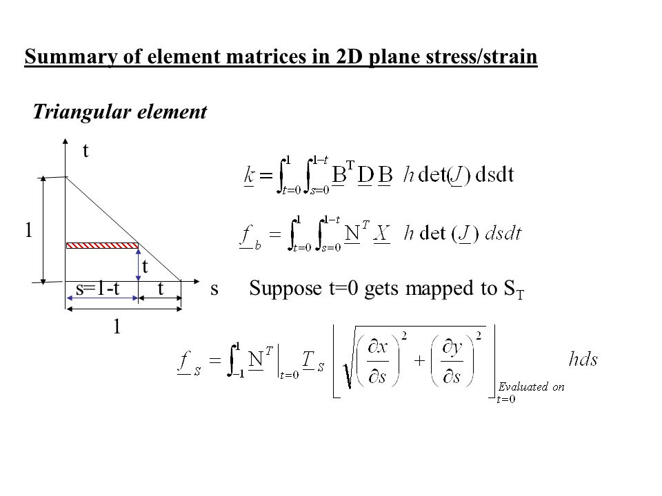 Summary of element matrices in 2D plane stress/strain Triangular element Suppose t=0 gets mapped to S T s t 1 1 s=1-t t t