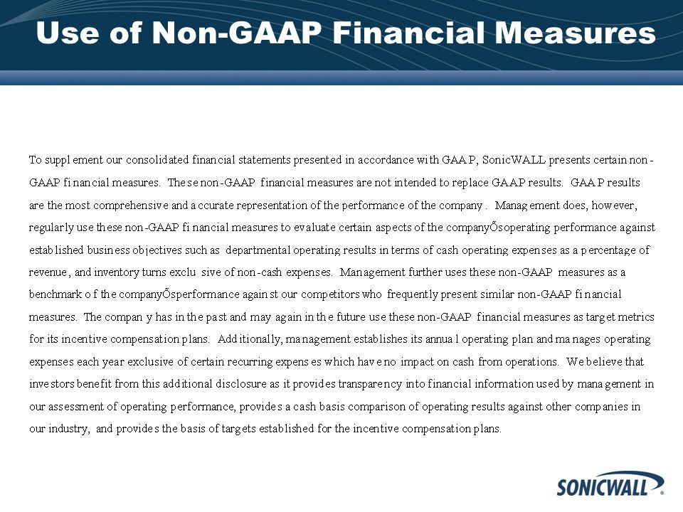 Use of Non-GAAP Financial Measures