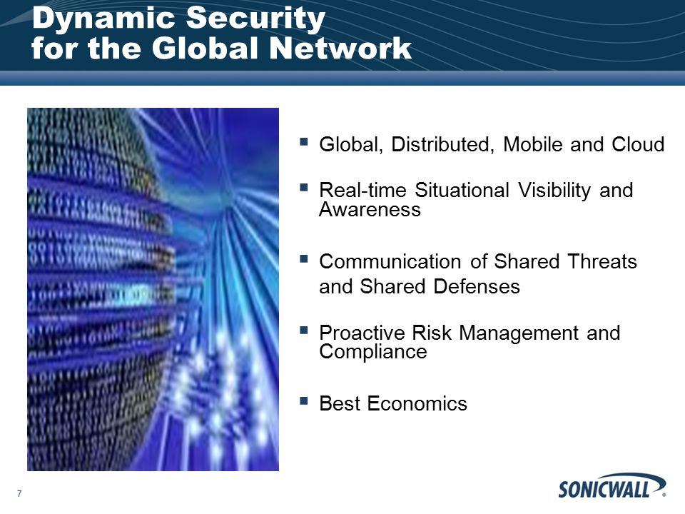 Dynamic Security for the Global Network  Global, Distributed, Mobile and Cloud  Real-time Situational Visibility and Awareness  Communication of Sh