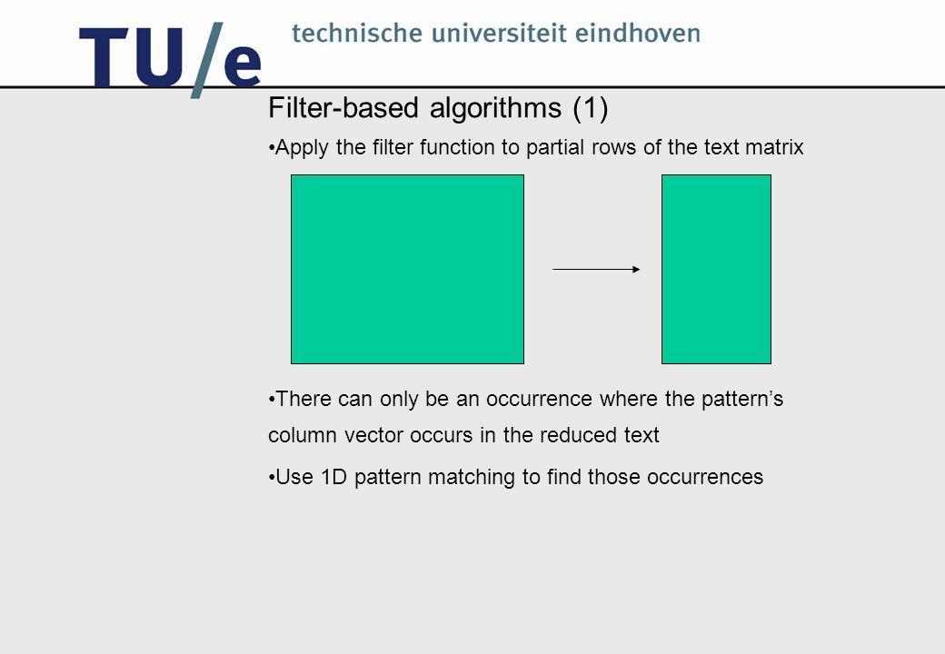 Filter-based algorithms: a simple filter function A simple example of a filter function: f(x) = x[0] Pattern: Text: aaa bab aaa a b a aaa bab aaa baa baa aba abb bbb bab bb ab bb baa abb aba aa ab aa aaa bab aaa baa baa aba abb bbb bab baa abb aba