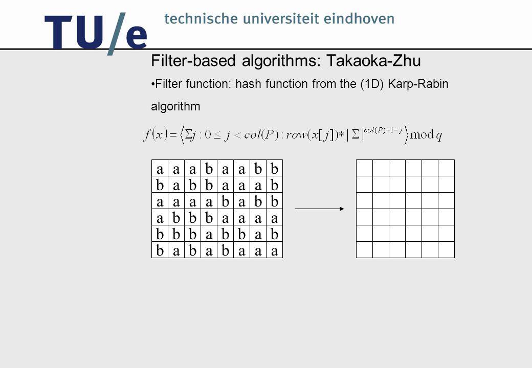 Filter-based algorithms: Baker-Bird (0) Based on Aho-Corasick automaton –Aho-Corasick is an algorithm for (1D) multipattern matching –It uses a special automaton, based on the pattern strings Filter function for Baker-Bird: state in the Aho-Corasick automaton, based on the pattern's rows