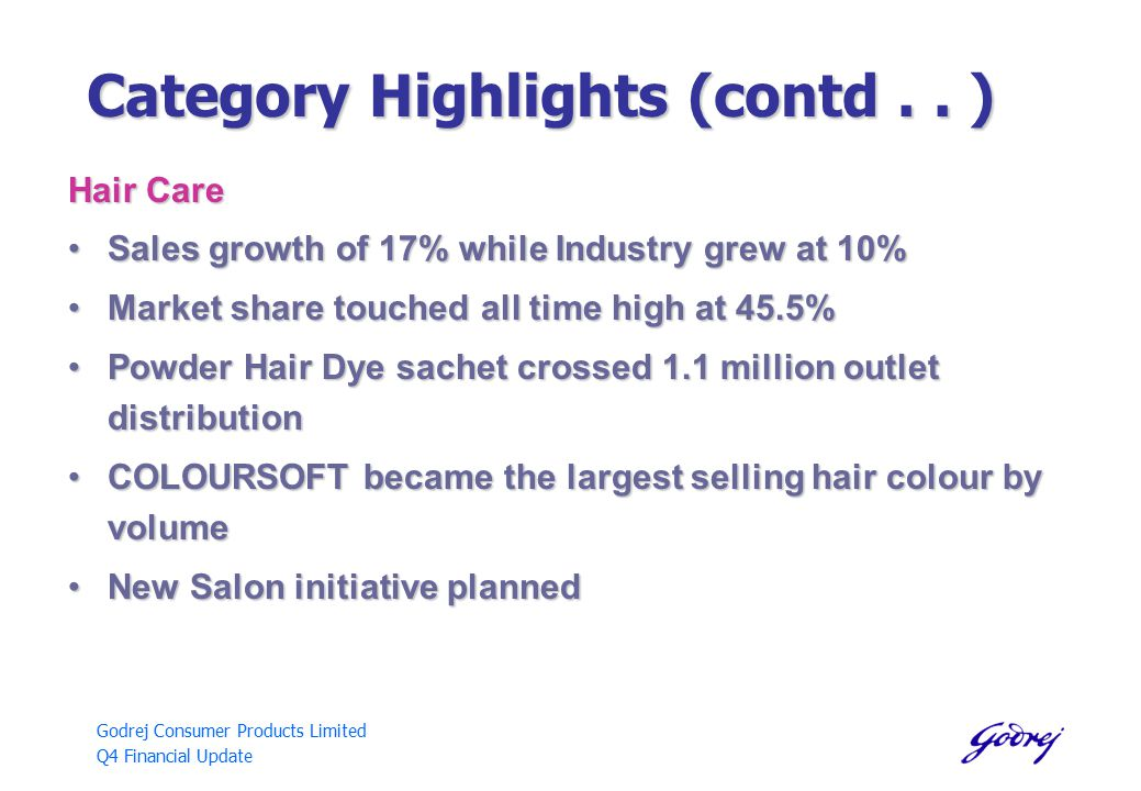 Godrej Consumer Products Limited Q4 Financial Update Category Highlights (contd..
