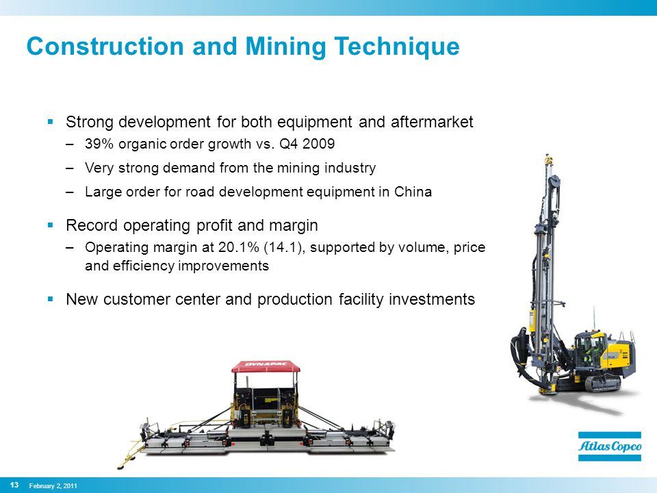 Construction and Mining Technique  Strong development for both equipment and aftermarket –39% organic order growth vs.