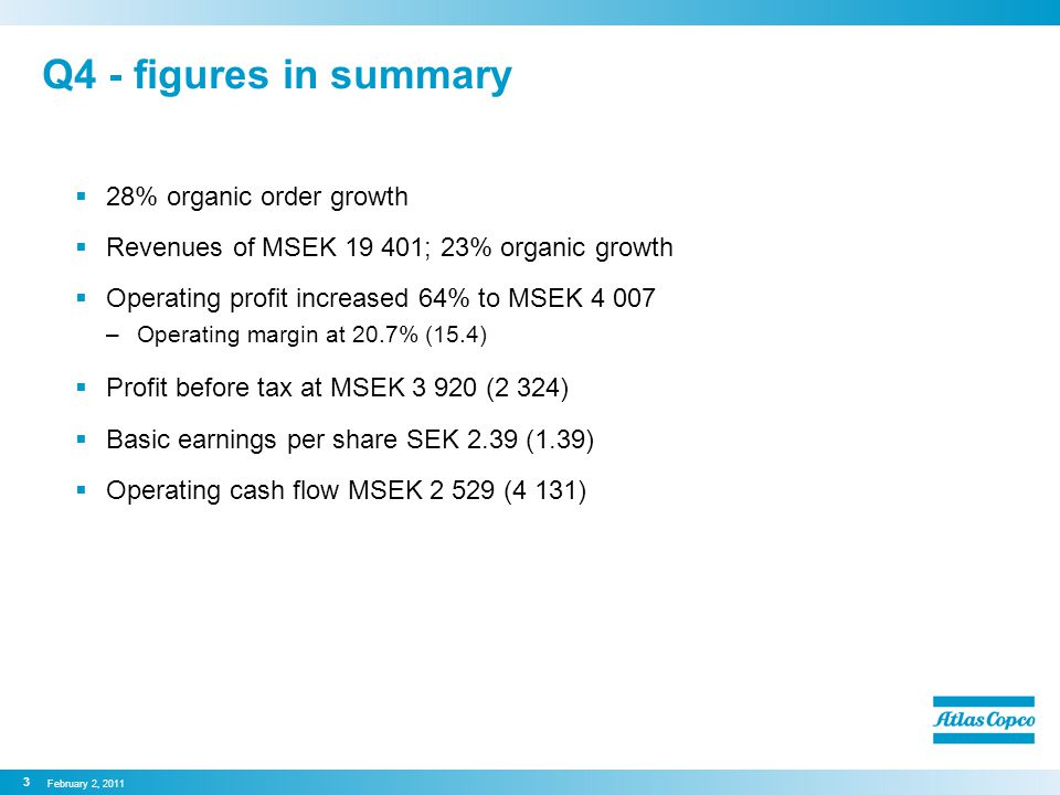 Q4 - figures in summary  28% organic order growth  Revenues of MSEK 19 401; 23% organic growth  Operating profit increased 64% to MSEK 4 007 –Operating margin at 20.7% (15.4)  Profit before tax at MSEK 3 920 (2 324)  Basic earnings per share SEK 2.39 (1.39)  Operating cash flow MSEK 2 529 (4 131) February 2, 2011 3